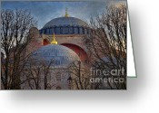 Byzantine Photo Greeting Cards - Dawn over Hagia Sophia Greeting Card by Joan Carroll