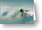 Surf Art La Jolla Digital Art Greeting Cards - Dawn Surfer Greeting Card by David Rearwin