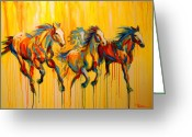 Running Horse Painting Greeting Cards - Dawns Early Light Greeting Card by Theresa Paden