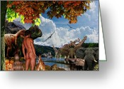 Dinosaurs Digital Art Greeting Cards - Day 6 Greeting Card by Lourry Legarde