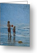 South Carolina Beach Painting Greeting Cards - Day at the Beach Greeting Card by Erik Schutzman