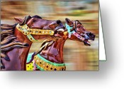 Race Greeting Cards - Day at the Races Greeting Card by Evelina Kremsdorf