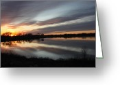 Light And Dark  Greeting Cards - Day End Greeting Card by J Laughlin