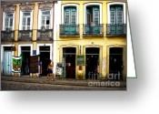Cobblestone Street Greeting Cards - Day in Bahia Greeting Card by Julie Palencia