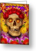 Somber Greeting Cards - Day of the Dead - Dia de los Muertos Greeting Card by Mike Savad