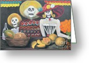 Pancho Greeting Cards - Day of the Dead Family Greeting Card by Sonia Flores Ruiz