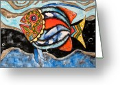 Expressive Photo Greeting Cards - Day of The Dead Fish Greeting Card by Rain Ririn