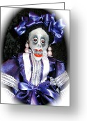 Day Sculpture Greeting Cards - Day of the Dead folk puppet Greeting Card by Joie Morillo