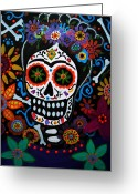 Cartera Greeting Cards - Day Of The Dead Frida Kahlo Painting Greeting Card by Pristine Cartera Turkus