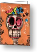 Watermelon Painting Greeting Cards - Day of the Dead Watermelon Greeting Card by  Abril Andrade Griffith