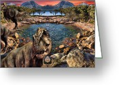 Dinosaurs Digital Art Greeting Cards - Day Out Greeting Card by Lourry Legarde