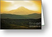 Volcano Greeting Cards - Daybreak Greeting Card by Andrew Paranavitana