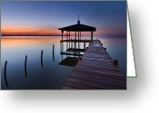 Florida Bridges Greeting Cards - Daybreak Greeting Card by Debra and Dave Vanderlaan