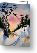 Dusk Mixed Media Greeting Cards - Daybreak Ski              Greeting Card by Kathy Braud