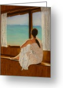Cabin Window Painting Greeting Cards - Daydreamer Greeting Card by Leah  Welch
