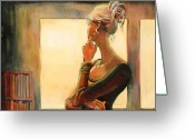 Figure Greeting Cards - Daydreaming Greeting Card by Sue  Darius