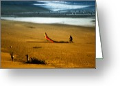 Playing On Beach Greeting Cards - Daydreams Greeting Card by Donna Blackhall