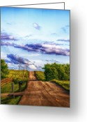 Purple Sky Greeting Cards - Daylight Fades in New Melle Greeting Card by Bill Tiepelman