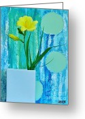 Blues And Greens Greeting Cards - Daylily During Day Greeting Card by Marsha Heiken