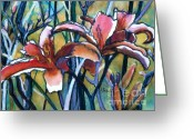 Gouache Mixed Media Greeting Cards - Daylily Stix Greeting Card by Kathy Braud
