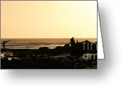 Surf Silhouette Greeting Cards - Days End Greeting Card by Henrik Lehnerer