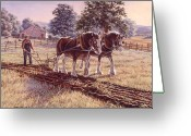 Horse Art Greeting Cards - Days of Gold Greeting Card by Richard De Wolfe
