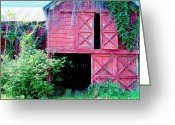 Old Barns Pyrography Greeting Cards - Days Of Old Greeting Card by L Lee
