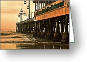 Florida Beaches Greeting Cards - Daytona Beach Pier Greeting Card by Carolyn Marshall