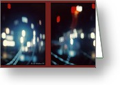 City Illusion Greeting Cards - DC Lights - Gently cross your eyes and focus on the middle image Greeting Card by Brian Wallace
