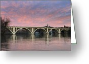 Washington D.c. Tapestries Textiles Greeting Cards - DC Sunrise over the Potomac River Greeting Card by Brendan Reals