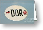 Logos Greeting Cards - DDR sticker Greeting Card by Matthias Hauser