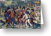 Missionary Greeting Cards - De Bry: Spanish Conquest Greeting Card by Granger