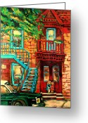 Montreal Street Life Greeting Cards - De Bullion Street Girls Greeting Card by Carole Spandau
