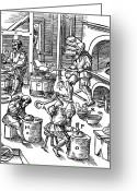 1555 Greeting Cards - De Re Metallica, Metallurgy Workshop Greeting Card by Science Source