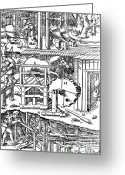 1555 Greeting Cards - De Re Metallica, Ventilation Of Mines Greeting Card by Science Source