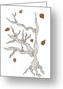 Tree Drawings Greeting Cards - Dead wood Greeting Card by Frank Tschakert