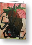 Black Widow Greeting Cards - Deadly Things Greeting Card by Manx Minion