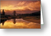 Restful Greeting Cards - Deadwood River Sunrise Greeting Card by Leland Howard