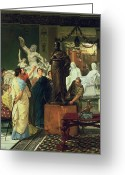 Signed Greeting Cards - Dealer in Statues  Greeting Card by Sir Lawrence Alma-Tadema
