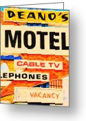 Welcome Signs Greeting Cards - Deanos Motel Greeting Card by Wingsdomain Art and Photography