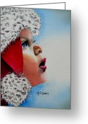 Child Greeting Cards - Dear Santa Greeting Card by Maria Barry