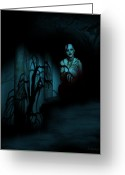 Ghoul Greeting Cards - Death Becomes Her Greeting Card by Jean Gugliuzza