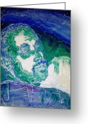 Portrait Reliefs Greeting Cards - Death Metal Portrait in Blue and Green with Fu Man Chu Mustache and Cracking Textured Canvas Greeting Card by M Zimmerman