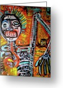 Outsider Art Mixed Media Greeting Cards - Death Of Basquiat Greeting Card by Robert Wolverton Jr