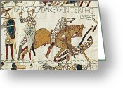The Language Greeting Cards - Death Of Harold, Bayeux Tapestry Greeting Card by Photo Researchers