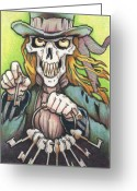Keys Drawings Greeting Cards - Deaths Doorman Greeting Card by Amy S Turner
