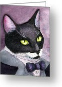 Black Tie Greeting Cards - Debonaire Tuxedo Cat Greeting Card by Lm Nelson