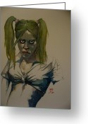Vampire Painting Greeting Cards - Deborah the Vampire Greeting Card by Ray Agius