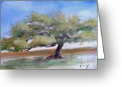 Landscape Posters Painting Greeting Cards - Deborahs Tree Greeting Card by Sally Simon