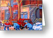 Hockey Stars Greeting Cards - Debullion Street Hockey Stars Greeting Card by Carole Spandau